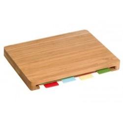Planche de découpe en bambou avec 4 plaques de découpe synthétiques