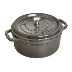 Staub cast iron round cocotte 24cm grey