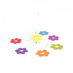 "6 wine glass markers "" flower"""