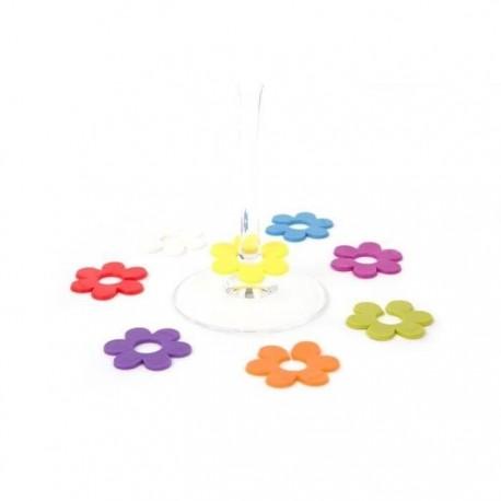 6 Marque-verres fleurs