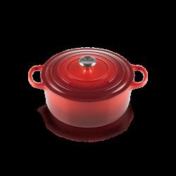 Cocotte ronde 34cm Signature rouge Cerise Le Creuset