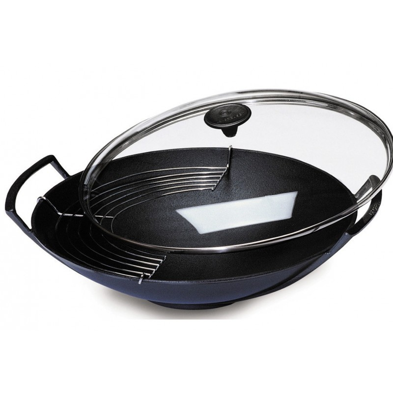 culin art chinese wok le creuset 6 8p 36cm cast iron tempura grill. Black Bedroom Furniture Sets. Home Design Ideas
